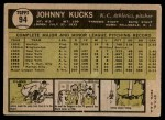 1961 Topps #94  Johnny Kucks  Back Thumbnail