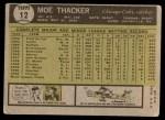 1961 Topps #12  Moe Thacker  Back Thumbnail