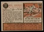 1962 Topps #308  Neil Chrisley  Back Thumbnail