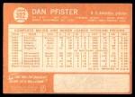 1964 Topps #302  Dan Pfister  Back Thumbnail