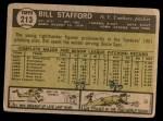 1961 Topps #213  Bill Stafford  Back Thumbnail