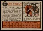 1962 Topps #224  Don Rudolph  Back Thumbnail