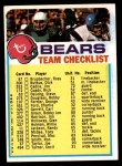 1973 Topps Football Team Checklists #4   Chicago Bears Front Thumbnail