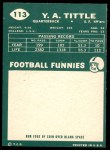 1960 Topps #113  Y.A. Tittle  Back Thumbnail
