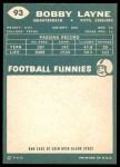 1960 Topps #93  Bobby Layne  Back Thumbnail