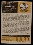 1971 Topps #260  O.J. Simpson  Back Thumbnail