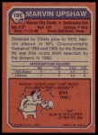1973 Topps #186  Marvin Upshaw  Back Thumbnail