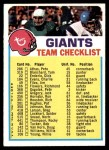1973 Topps  Checklist   Giants Front Thumbnail