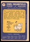1969 Topps #87  Earl Ingarfield  Back Thumbnail
