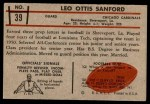 1953 Bowman #39  Leo Sanford  Back Thumbnail