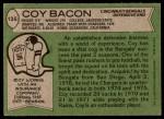 1978 Topps #135  Coy Bacon  Back Thumbnail