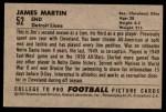 1952 Bowman Large #52  Jim Martin  Back Thumbnail