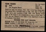 1952 Bowman Large #13  Tom Fears  Back Thumbnail