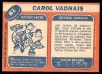1968 Topps #81  Carol Vadnais  Back Thumbnail