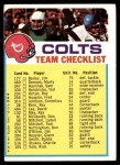 1973 Topps Football Team Checklists #2   Baltimore Colts Front Thumbnail