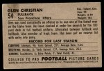 1952 Bowman Large #54  Glen Christian  Back Thumbnail