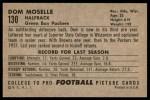 1952 Bowman Large #130  Dom Moselle  Back Thumbnail