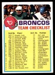 1973 Topps Football Team Checklists #8   Denver Broncos Front Thumbnail