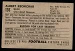 1952 Bowman Large #136  Bert Rechichar  Back Thumbnail