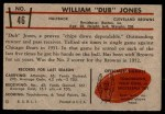 1953 Bowman #46  William Jones  Back Thumbnail