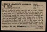 1952 Bowman Large #75  Joe Kuharich  Back Thumbnail