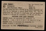 1952 Bowman Large #83  Joe Perry  Back Thumbnail