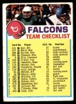 1973 Topps  Checklist   Falcons Front Thumbnail