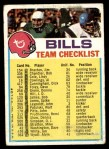 1973 Topps  Checklist   Bills Front Thumbnail