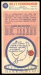 1969 Topps #40  Billy Cunningham  Back Thumbnail