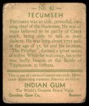 1933 Goudey Indian Gum #42  Tecumseh   Back Thumbnail