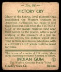 1933 Goudey Indian Gum #88   Victory Cry  Back Thumbnail