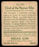 1933 Goudey Indian Gum #118   Pawnee Tribe  Back Thumbnail