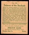 1933 Goudey Indian Gum #181   Defense of Stockade  Back Thumbnail