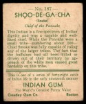 1933 Goudey Indian Gum #187  Shoo-De-Ga-Cha   Back Thumbnail