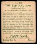 1933 Goudey Indian Gum #196  Tshi-Zun-Hau-Kau   Back Thumbnail