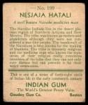 1933 Goudey Indian Gum #199  Nesjaja Hatali   Back Thumbnail