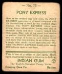 1933 Goudey Indian Gum #76   Pony Express  Back Thumbnail