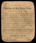 1933 Goudey Indian Gum #6   Sioux Tribe  Back Thumbnail
