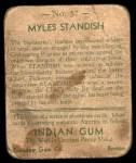 1933 Goudey Indian Gum #57  Myles Standish   Back Thumbnail