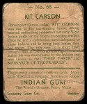 1933 Goudey Indian Gum #68  Kit Carson   Back Thumbnail