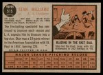 1962 Topps #515  Stan Williams  Back Thumbnail