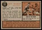 1962 Topps #545  Hoyt Wilhelm  Back Thumbnail