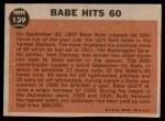 1962 Topps #139 DRT  -  Babe Ruth  Babe Hits 60 Back Thumbnail