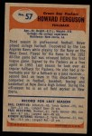 1955 Bowman #57  Howard Ferguson  Back Thumbnail