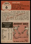 1953 Topps #6  Sam Jones  Back Thumbnail