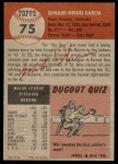1953 Topps #75  Mike Garcia  Back Thumbnail