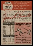 1953 Topps #219  Pete Runnels  Back Thumbnail