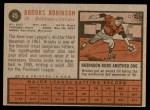 1962 Topps #45  Brooks Robinson  Back Thumbnail
