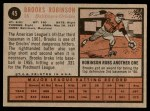 1962 Topps #45  Brooks Robinson  Back Thumbnail