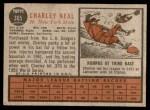 1962 Topps #365  Charlie Neal  Back Thumbnail